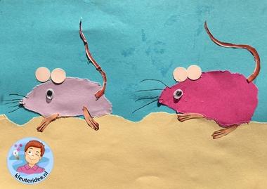 Muizen scheuren met kleuters, met gratis download voor staart en poten, kleuteridee.nl, Kindergarten mouse craft with free printable 3