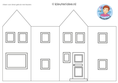huisje om te knutselen 1, thema post en pakket kleuteridee