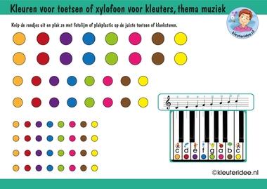 Kleuren voor toetsen of klankstaven voor kleuters, thema muziek, kleuteridee.nl, free download