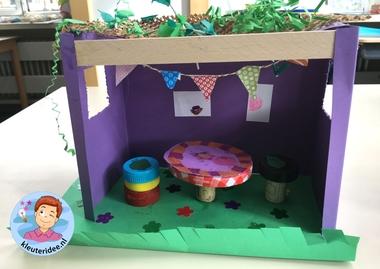 Loofhut knutselen met kinderen, Kindergarten sukkah craft, kleuteridee 7