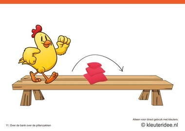 Bewegingskaarten kip voor kleuters 11, Over de bank over de pittenzakken , kleuteridee.nl , thema Lente, Movementcards for preschool, free printable.
