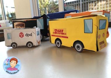 auto'van pakketdiensten maken met kleuters 3, thema post en pakket, kleuteridee.