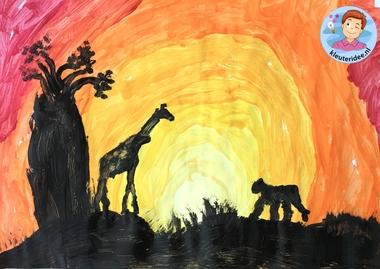 Zonsondergang in Afrika verven met kleuters, kleuteridee, Kindergarten African sunset.