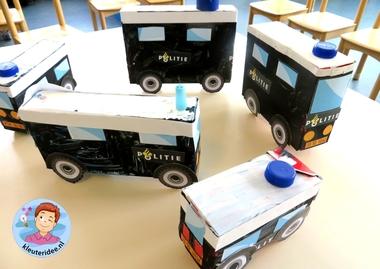 Busje van de Mobiele eenheid knutselen (ME) 4, thema politie, kleuteridee.nl, met gratis downloads