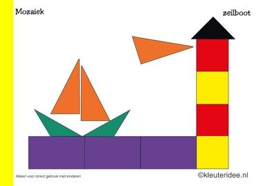 Mozaiek voorbeeldkaarten voor kleuters 2, zeilboot, kleuteridee.nl , Preschool mosaic patterns, free printable.