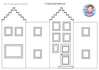 huisje om te knutselen 2, thema post en pakket kleuteridee