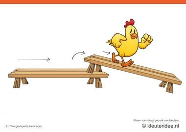 Bewegingskaarten kip voor kleuters 21, Van gestapelde bank lopen , kleuteridee.nl , thema Lente, Movementcards for preschool, free printable.
