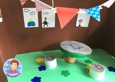 Loofhut knutselen met kinderen, Kindergarten sukkah craft, kleuteridee 6