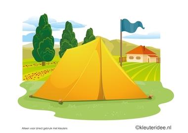 Kaartenset visuele discriminatie en kritisch luisteren voor kleuters 1, thema camping, kleuteridee.nl, preschool visual discrimination, camping theme, free printable.