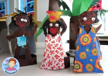 Mensen uit Afrika knutselen van toiletrollen,kleuteridee, thema Afrika, kindergarten Africa people craft 8.