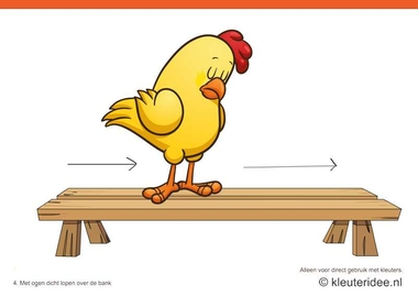 Bewegingskaarten kip voor kleuters 4, met ogen dicht lopen over de bank , kleuteridee.nl , thema Lente, Movementcards for preschool, free printable.