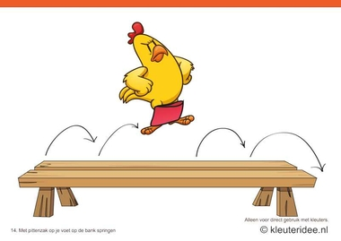 Bewegingskaarten kip voor kleuters 14, Met pittenzak op je voet op de bank springen , kleuteridee.nl , thema Lente, Movementcards for preschool, free printable.