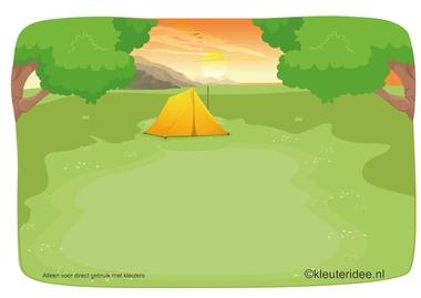 Kaartenset visuele discriminatie en kritisch luisteren voor kleuters 3, thema camping, kleuteridee.nl, preschool visual discrimination, camping theme, free printable.