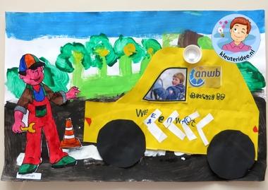 Knutselen thema 'pech onderweg', wegenwacht ANWB 2 voor kleuters, kleuteridee