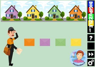 Interactief kleurenspel post met enveloppen, kleuteridee en diggipuzzle, voor computer, digibord en tablet