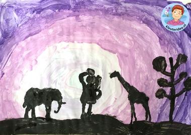 Zonsondergang in Afrika verven met kleuters, kleuteridee, Kindergarten African sunset 2.