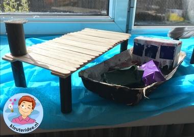 Steiger knutselen met kleuters, thema de haven 3, kleuteridee, kindergarten container ship craft