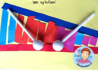 Xylofoon knutselen met kleuters , thema muziek, Kindergarten xylophone craft, music theme, kleuteridee.nl