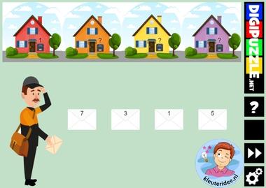 Interactief spel met even en oneven huisnummers, thema de post, kleuteridee en diggipuzzle, voor computer, digibord en tablet