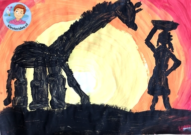 Zonsondergang in Afrika verven met kleuters, kleuteridee, Kindergarten African sunset 4.