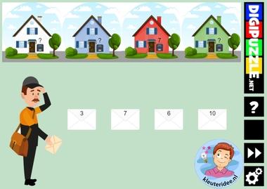 Interactief spel met huisnummers en post met enveloppen, kleuteridee en diggipuzzle, voor computer, digibord en tablet