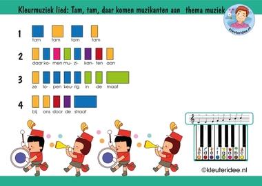 Bladmuziek voor kleuters, lied Tam, tam daar komen muzikanten aan, thema muziek, kleuteridee.nl, free download