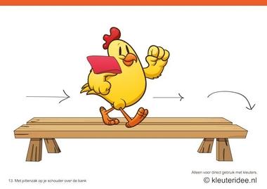 Bewegingskaarten kip voor kleuters 13, Met pittenzak op je schouder over de bank , kleuteridee.nl , thema Lente, Movementcards for preschool, free printable.
