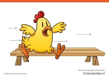 Bewegingskaarten kip voor kleuters 7, Zijwaarts over de bank schuiven , kleuteridee.nl , thema Lente, Movementcards for preschool, free printable.