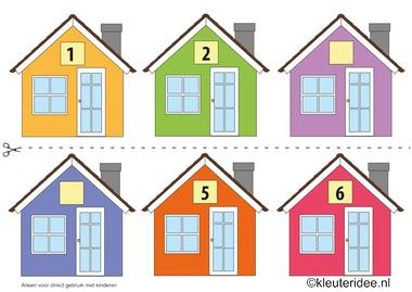 CITOvaardigheden voor kleuters, Welk nummer heeft het huisje in de straat 1, kleuteridee.nl , What number is the house in the street, free printable.
