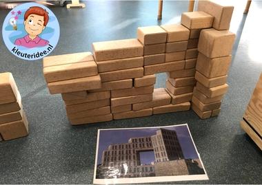 Bouwwerken in de bouwhoek door kleuters, thema Israël 2, kleuteridee