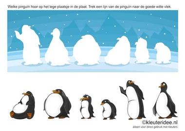 Welke pinguïn hoor op het lege plaatsje in de plaat. Kleuteridee.nl , Trek een lijn van de pinguïn naar de goede witte vlek, free printable.
