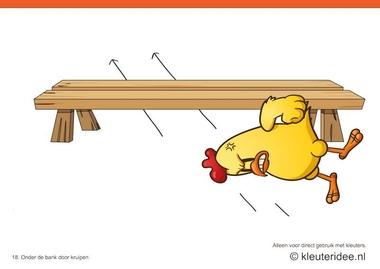 Bewegingskaarten kip voor kleuters 18, onder de bank door kruipen , kleuteridee.nl , thema Lente, Movementcards for preschool, free printable.