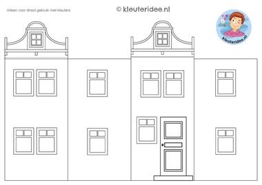 huisje om te knutselen 3, thema post en pakket kleuteridee