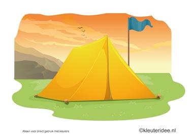 Kaartenset visuele discriminatie en kritisch luisteren voor kleuters 2, thema camping, kleuteridee.nl, preschool visual discrimination, camping theme, free printable.