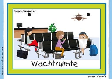 Themahoek 5 wachtruimte bij thema vliegveld voor kleuters, juf Petra van kleuteridee, free printable.