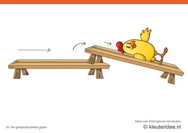 Bewegingskaarten kip voor kleuters 24, Van gestapelde banken glijden , kleuteridee.nl , thema Lente, Movementcards for preschool, free printable.