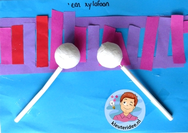 Xylofoon knutselen met kleuters 2 , thema muziek, Kindergarten xylophone craft, music theme, kleuteridee.nl