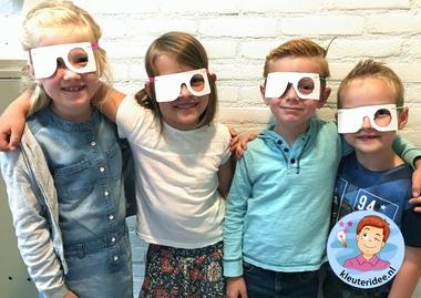 testbril GGD - schoolarts maken, thema het oog, kleuteridee.