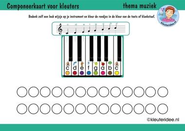 Componeerkaart voor kleuters, thema muziek, kleuteridee.nl, free download