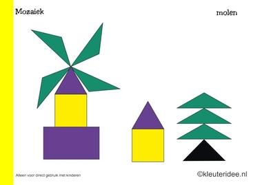 Mozaiek voorbeeldkaarten voor kleuters 10, molen, kleuteridee.nl , Preschool mosaic patterns, free printable.