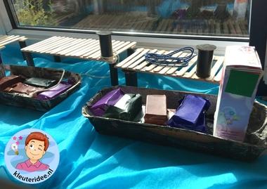 Steiger knutselen met kleuters, thema de haven, kleuteridee, kindergarten container ship craft