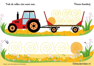 Schrijfpatroon stro, thema boerderij, kleuteridee , writing pattern straw, Preschool farm theme, free printable.