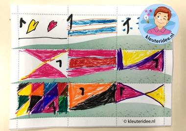 Postzegels ontwerpen met kleuters 5, thema post, kleuteridee