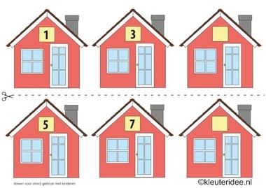 CITOvaardigheden voor kleuters, Welk nummer heeft het huisje in de straat oneven nrs 1, kleuteridee.nl , What number is the house in the street, free printable.