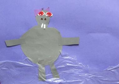 Nijlpaard in het water 2, thema dierentuin, kleuteridee.nl , Preschool hippo craft.