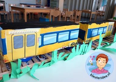 trein van dozen knutselen, kleuteridee.nl, met gratis downloads, free printables, kindergarten railway theme.