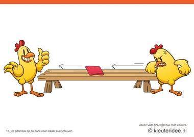 Bewegingskaarten kip voor kleuters 15, De pittenzak op de bank naar elkaar overschuiven , kleuteridee.nl , thema Lente, Movementcards for preschool, free printable.
