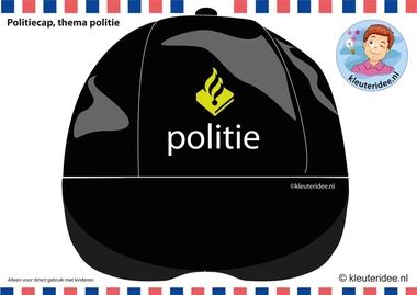 Politiecap voor kleuters, kleuteridee.nl, free printable downloads, thema politie.