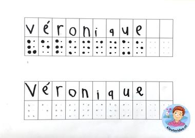 Je naam in braille prikken, kleuteridee, thema het oog.