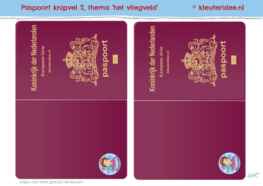 paspoort knipvel buitenkant, kleuteridee, thema vliegveld k